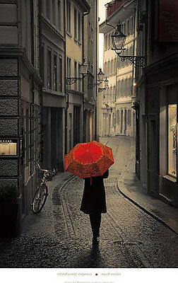 PHOTO ART PRINT - Red Rain by Stefano Corso 24x38 Umbrella Photograph Poster