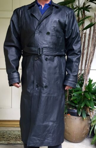 Black Leather Double Breasted Trenchcoat Overcoat