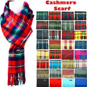 Winter-Womens-Mens-100-Cashmere-Plaid-Solid-Scarves-Wool-Scarf-Scotland-Made