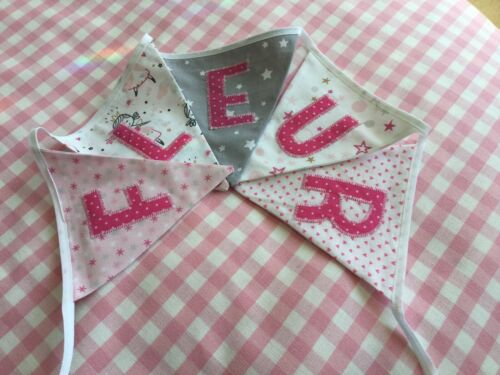 CHRISTENING//NEW baby girl Pink /& Grey Fairy Theme personalised bunting