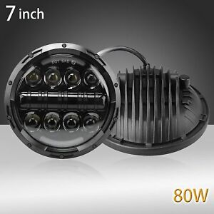 Black-7-inch-Car-Projector-LED-Light-Bulb-Headlight-For-Land-Rover-Defender-Pair