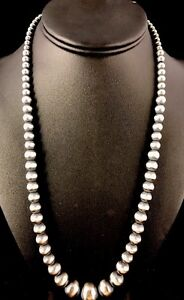 Native-American-Navajo-Pearls-Graduated-Sterling-Silver-Bead-Necklace-20-034-341