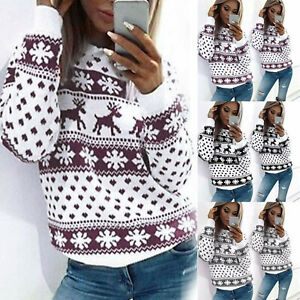 Women-039-s-Xmas-Party-Christmas-Jumper-Knitted-Ladies-Snowflake-Sweater-Tops-Blouse