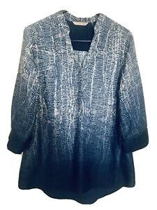 Soft Surroundings Women's Sz  Medium Brigitte Tunic 3/4 Sleeve - Blue White