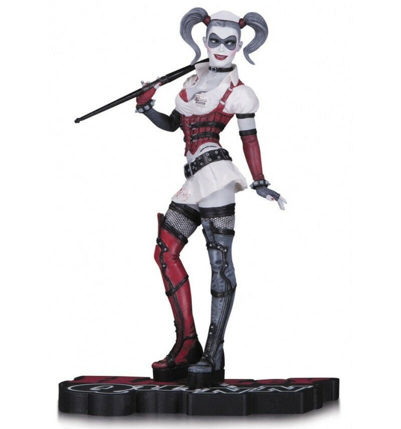 Dc Direct Estatua Harley Quinn rojo, blancooa y ; negro Estatuilla Arkham Asylum