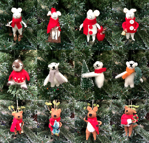 image is loading padded felt penguin polar bear mice christmas tree - Christmas Mice Decorations