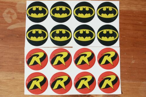 BATMAN AND ROBIN Epoxy Stickers 1 inch round for Bottle Cap and Craft Project