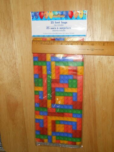 "25 NOT LEGO Building Brick Block Design 11/"" T Cellophane Party Loot Treat Bags"