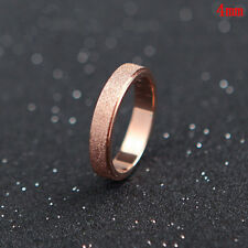 ba61bd7ade3 Fashion Stainless Steel Rose Gold Silver Frosted Women Wedding Band Ring  Sz5-13