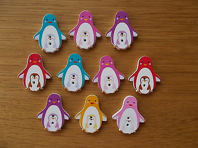 10 WOOD SEWING BUTTON PENGUIN  ANIMAL SHAPE  ASSORTED   CRAFTS//SCRAP BOOKING