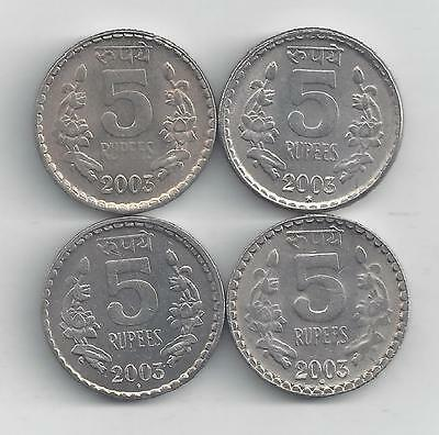 4 Nice 5 Rupee Coins From India (all Dating 2003 With Mint Marks Of B, C, H & N) Durable Service