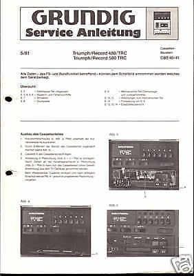 2019 Neuer Stil Grundig Original Service Manual Für Triumph/record 480/580 Trc Cbs 40/41 Angenehm Zu Schmecken