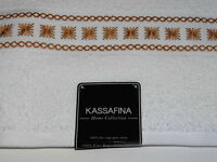 Kassa Fina Home Collection 100% Cotton White W/gold Embroidery Bath Towel Sale