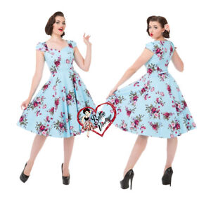 Print London anni Floral Swing Sky Prom 8 50 Roses Dress 26 Hearts Rockabilly Blue qYHXI5