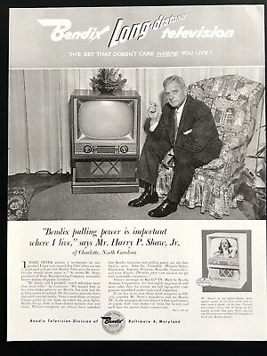 Collectibles 1955 Vintage Print Ad 50's Bendix Tv Television Mid Century Appliance Image