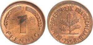 Frg 1 Pfennig 1968 G Lack Coinage: 10% Dezentriert, (1) Mint State, Kupferpatina