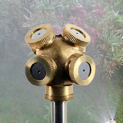 4Hole Adjustable Brass Spray Misting Nozzle Garden Sprinklers Irrigation Fitting