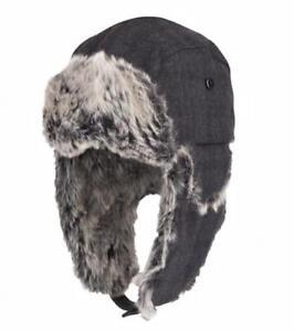 cdd427c44f2c5 Dockers Men s Wool-Blend Trapper Hat - Charcoal w Fur Trim - S M ...