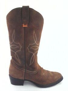 Vintage brown western leather boots 8 8,5 US genuine natural leather boots Vintage women cowboy boots