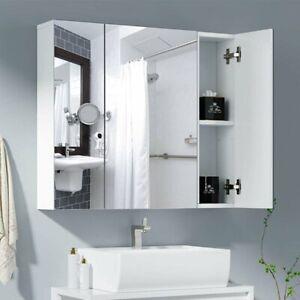 700mm Modern Bathroom Mirrored Cabinet Wall Hung 3 Doors ...