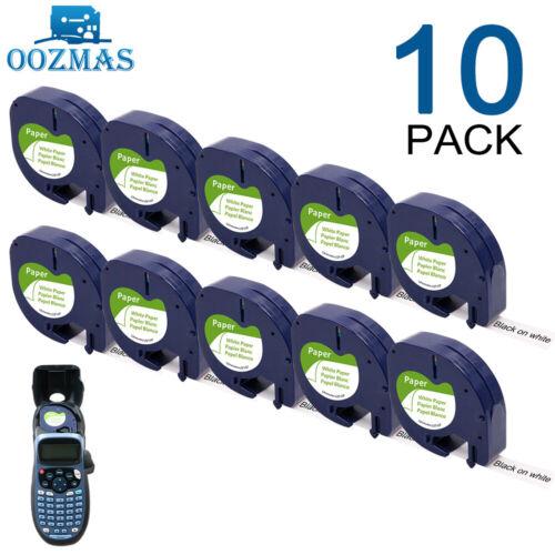 10X 91220 91200 kompatibel Dymo LetraTag LT-100H Etikettenband Weiß Papier 12mm