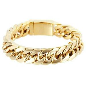 UNISEX-STAINLESS-18K-GOLD-FILLED-MENS-LADIES-LINK-CHAIN-CURB-BRACELET-14MM