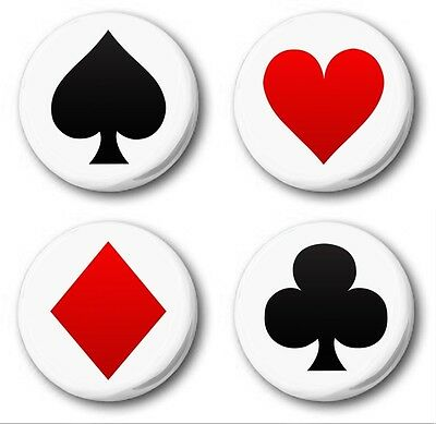 PLAYING CARD SUITS 4 SET  - 4x 1 inch / 25mm Button Badge - Novelty Poker Bridge
