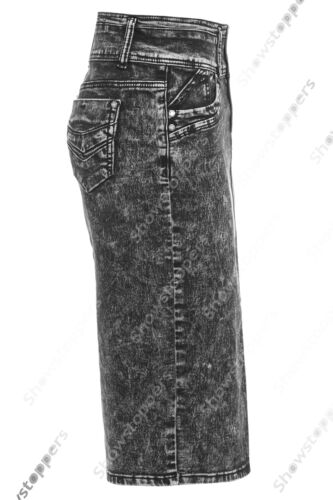 Neue Jeans Bleistiftrock Damen Schlauchrock Stretch blau Größe 8 10 12 14 16