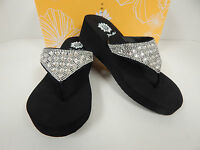 Yellow Box Birder 2 Black Leather Upper Thong Sandals With Clear Stones