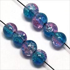 set di 50 perline Craquelé in vetro 6mm Blu Rosa