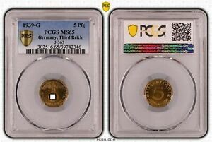 Drittes Reich 5 Pfennig 1939 g Stempelglanz PCGS MS65 51513