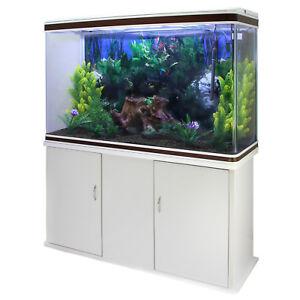 Fish & Aquariums Pecera Acuario Completo 300l Mueble Almacenamiento Blanco 300w & Kit Iniciación Up-To-Date Styling
