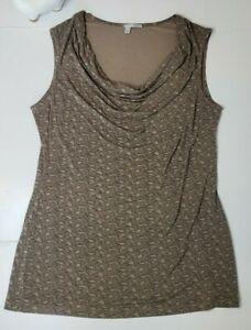 Halogen-Sleeveless-Blouse-Tank-Top-Stretch-Brown-Waterfall-Neck-Size-Large