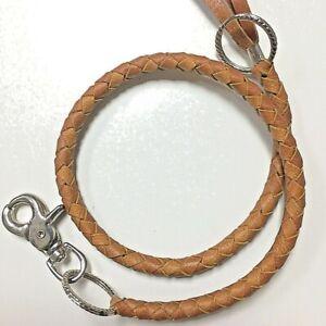 Brown-Genuine-Leather-Braided-Wallet-Chain-Key-Chain-Gift-Biker-Trucker-Jeans