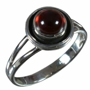 Handmade-925-Solid-Sterling-Silver-Ring-Natural-Garnet-Stone-US-Size-7-5-R-2107
