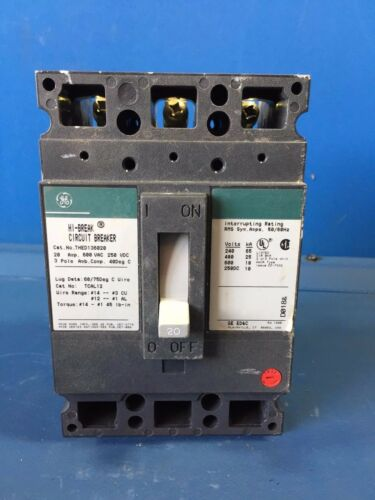 GE THED136020 20A 600V 3P CIRCUIT BREAKER
