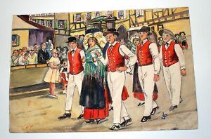 aquarelle-originale-scene-fete-de-village-en-Alsace-danse-folklorique