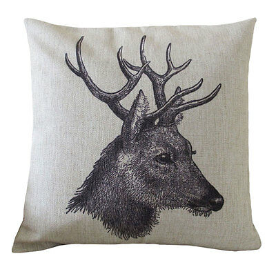 Decorative Pillow Cover linen black  Deer Head animal printed cushion case 18""
