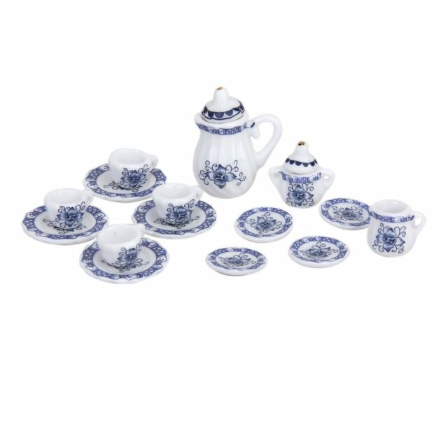 15pcs Dollhouse Miniature Dining Ware Porcelain Tea Set Pot+Dish+Cup+Saucer T1