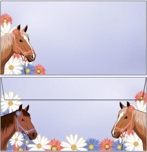 50 Kuverts Pony Mädchen zwei Pferde Set Motivpapier Briefpapier 50 Blatt A4