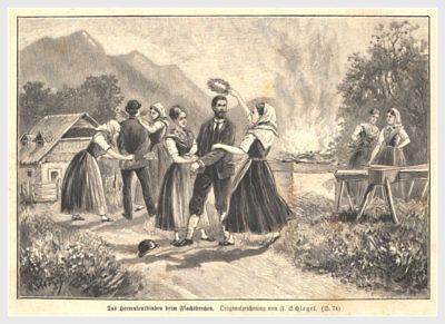 """Nett Brauchtum """"das Herrenleutbinden Beim Flachsbrechen"""" Original Holzstich Von 1896 In Vielen Stilen Bauer"""