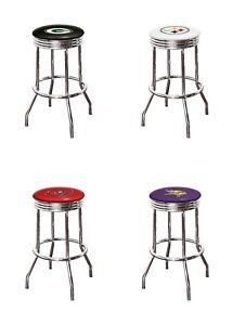 Marvelous Details About Bar Stool 29 Tall Nfl Logo Chrome Finish Metal Swivel Seat Football Bar Stools Machost Co Dining Chair Design Ideas Machostcouk