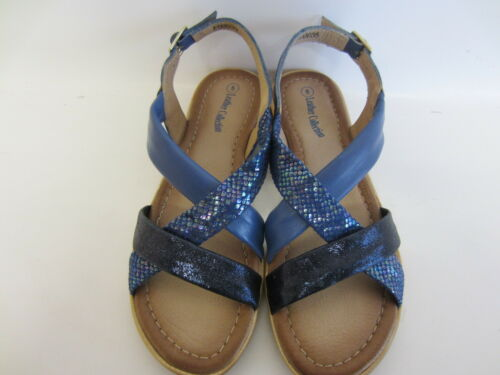 Leather Collection F0R0035 Ladies Navy Flat Slingback Sandals UK4 to 8 R27A