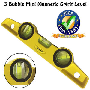 NEW-Aluminium-3-Bubble-Mini-Magnetic-Spirit-Level-Torpedo-Gradienter-YELLOW