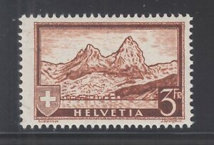 Switzerland-Sc-209-MNH-1931-3f-The-Mythen-on-Granite-Paper-Almost-VF