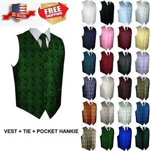 Men-039-s-Paisley-Formal-Tuxedo-Vest-Tie-amp-Hankie-set-Wedding-Prom-Cruise