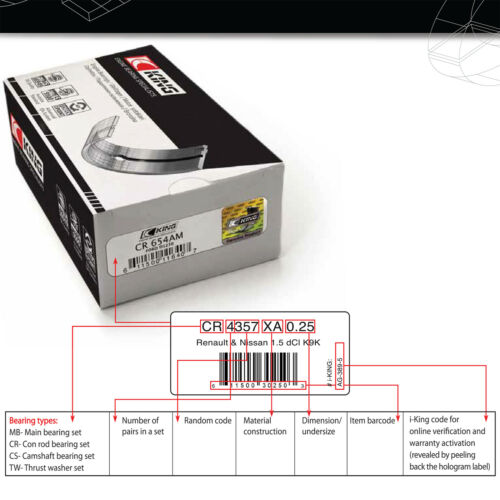 BMW N54 N55 S55 N52 N53 N20 N26 SPUTTER 0.50 big end con rod bearings CR222SV