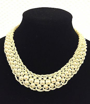 VINTAGE Faux Pearl Woven Scalloped Collar Choker Necklace COSTUME JEWELRY JVJ46