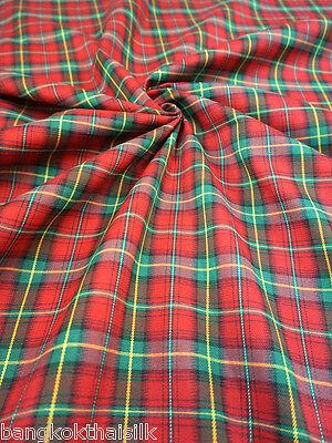 "RED GREEN PLAID CHECK TARTAN COTTON 44""W FABRIC KILT DRAPE DRESS SKIRT SUIT"