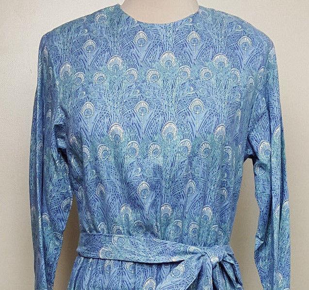 Liberty of London Hera peacock print challis dress by J. Jill Ltd vintage 1980s